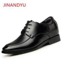 цены 2019 Winter Height Increasing Men Shoes Warm Short Plush Genuine Leather Formal Shoes Men Lace Up Pointed Toe Dress Shoes Men