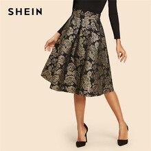 35467ae8d SHEIN Black Vintage Gold Flower Print Mid Waist Flare Knee-Length Skirt  2018 Autumn Elegant Modern Lady Women Skirts