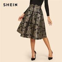 SHEIN Black Vintage Gold Flower Print Mid Waist Flare Knee Length Skirt 2018 Autumn Elegant Modern Lady Women Skirts