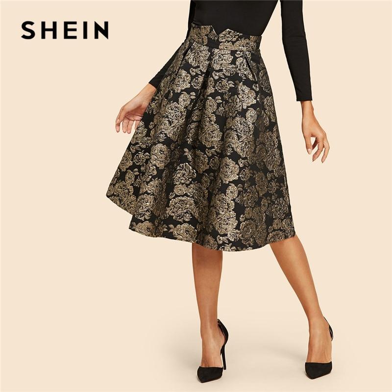 SHEIN Vintage Gold Flower Print Mid Waist Flare Knee-Length Skirt 2018 Autumn Elegant Modern Lady Women Skirts