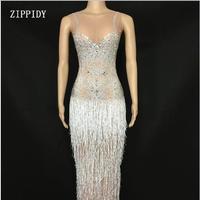 Модные блестящие белые кисточкой See Through платье со стразами Для женщин день рождения, празднование костюм из сетчатой ткани для танцев наряд