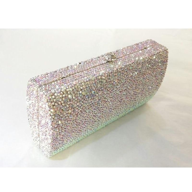 ФОТО L7745AB WhiteAB Crystal Lady Fashion Bridal Party Metal Evening purse handbag clutch bag case box