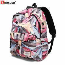 2018 Fresh Style Women Backpacks Feather Print Bookbags Polyester Backpack School Bag For Girls Rucksack Female Travel Backpack perilla brand small backpack travel bag unisex school bag for teenage students backpacks rucksack bookbags cool urban backpack