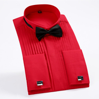 Red 38 44 Size Men Wedding Tuxedo Long Sleeve Dress Shirts French Swallow Collar Shirt Chemise Homme Fold Gentleman Shirt
