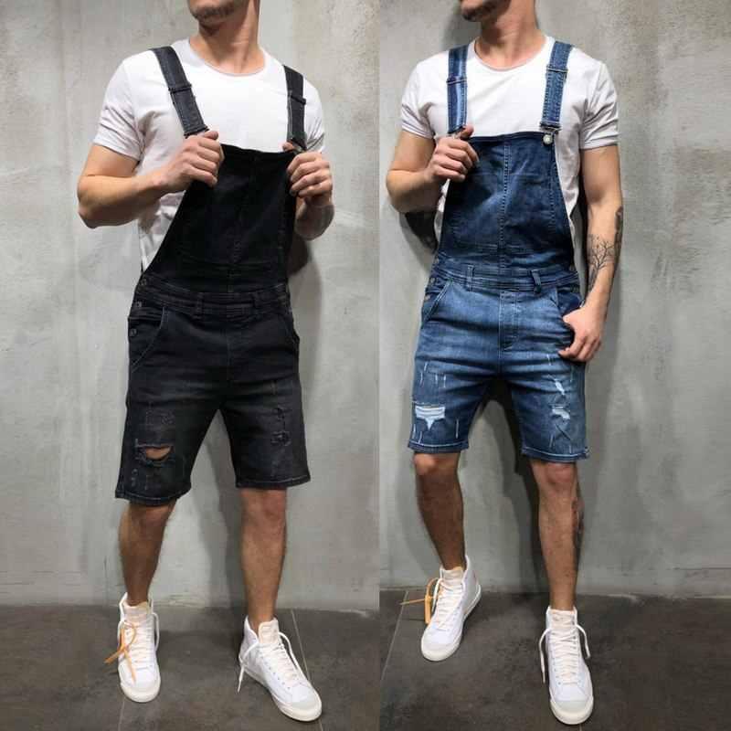 2019 сексуальные рваные короткие джинсы комбинезоны мужские повседневные рваная уличная одежда комбинезоны джинсовые шорты Большие размеры