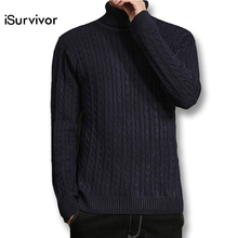 2017 iSurvivor Men Plus Size M-5XL Turtleneck Sweaters Pullovers Male Casual Fashion Slim Fit Knitted Sweaters Knitwear Hombre