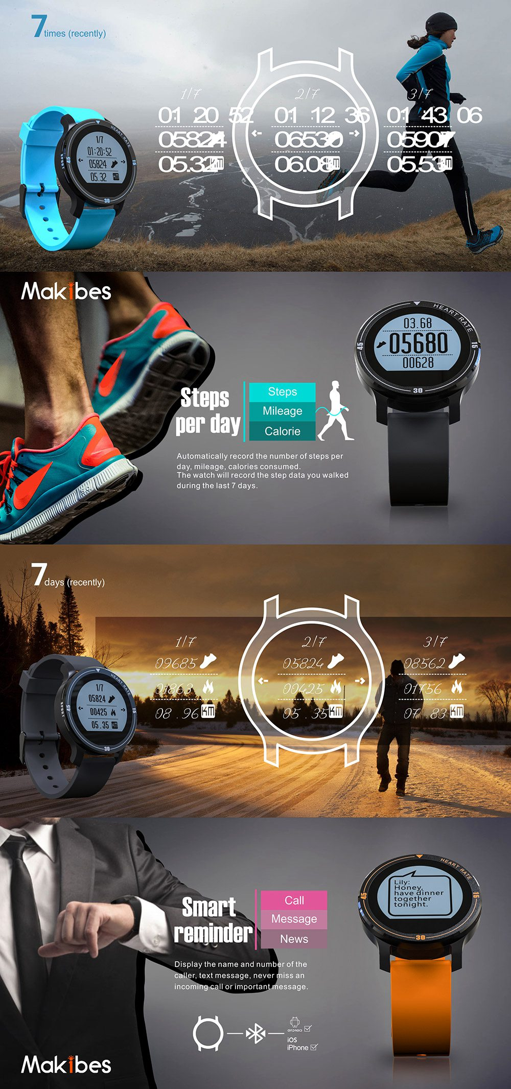 MAKIBES AEROBIC A1 SMART SPORTS WATCH BLUETOOTH DYNAMIC HEART RATE MONITOR SMARTWATCH S200 231407 18