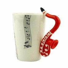 Novedad 10 Estilos de Música Nota Guitarra/Violin/Saxofón De Cerámica Taza de Leche Personalidad Taza Taza de Té Taza de Jugo De Limón Drinkware Regalo