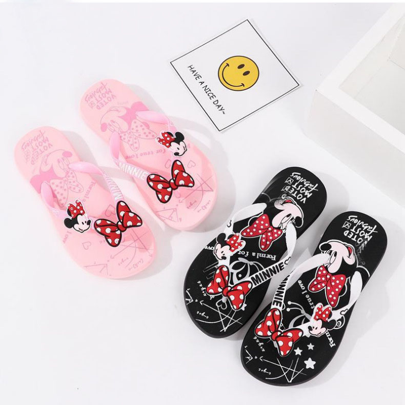 Summer Minnie Mickey Flip Flops Fashion Girls Home Slip Summer Beach Sand Flip Flops XQ01