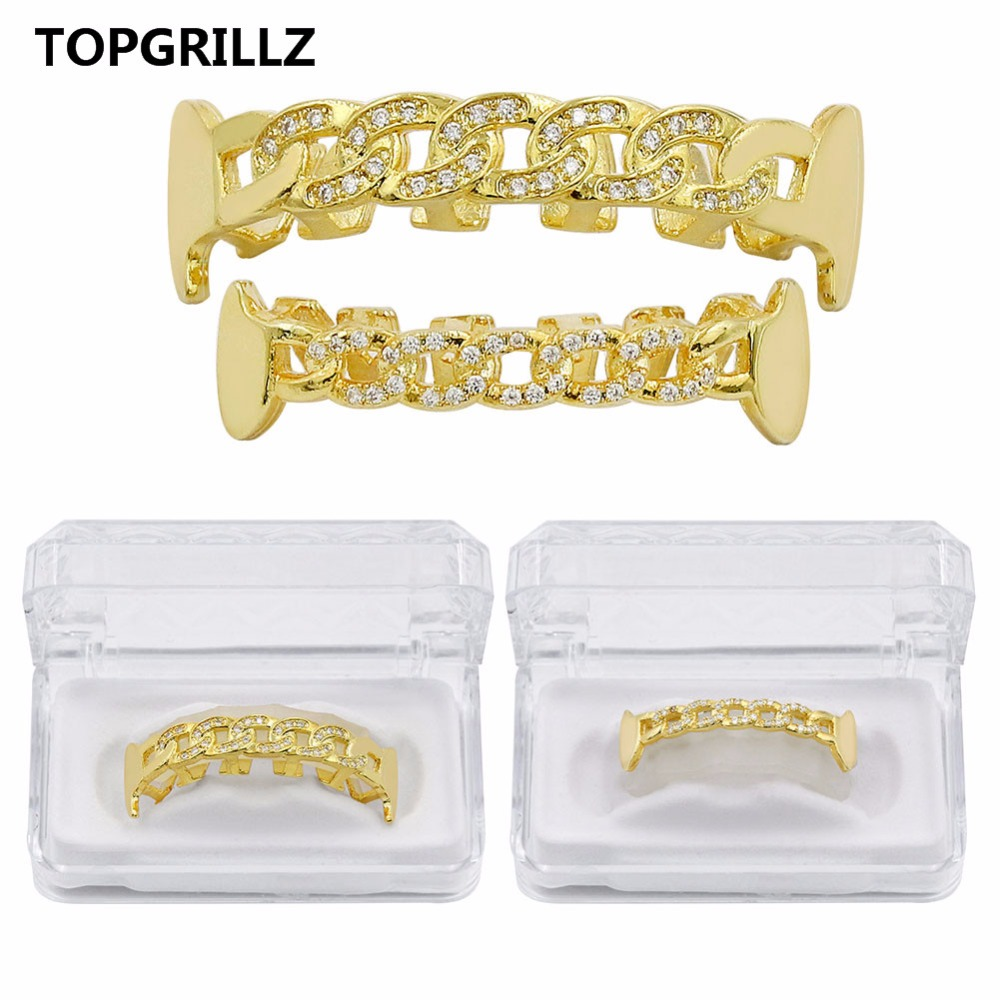 TOPGRILLZ Pure Gold Color Plated Fang Teeth Grillz