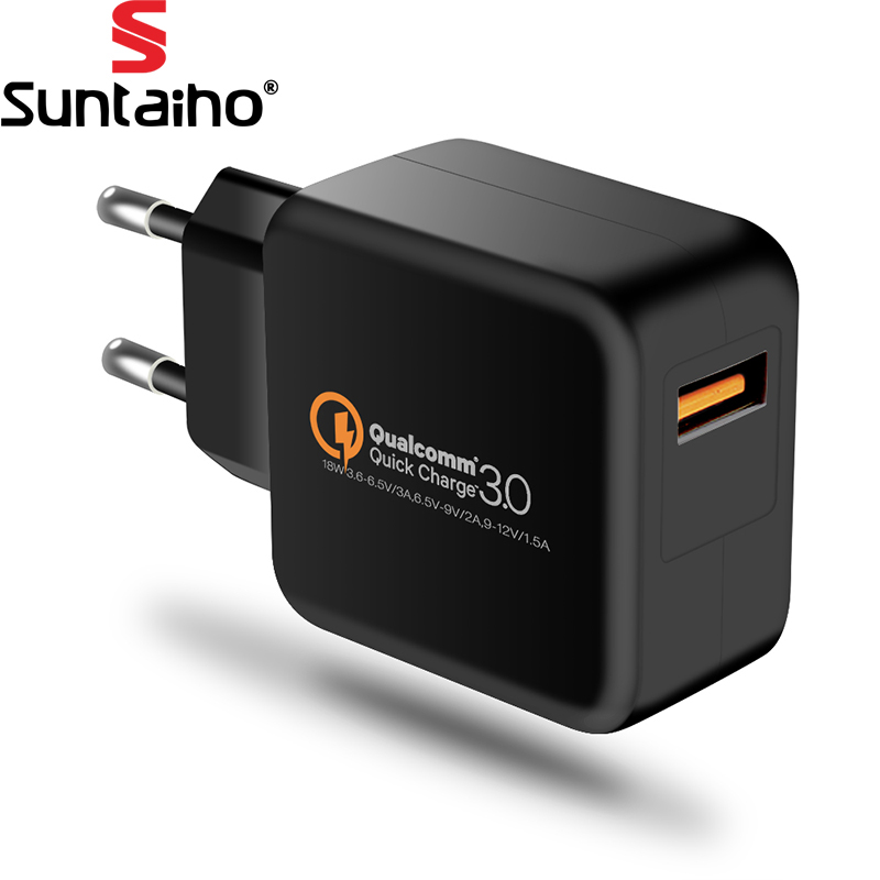 Suntaiho USB Phone Charger Qualcomm Quick Charge 3.0 18W Fast USB Charger Travel Wall Charger Adapter for iPhone/Samsung/Xiaomi [qualcomm certified] blitzwolf® qc3 0 2 4a 30w dual usb fast charger us adapter