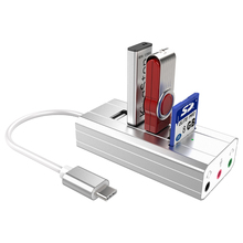USB HUB 3.0 Type C Splitter 3 Port Multi With SD TF Card Reader Support External Independent Sound