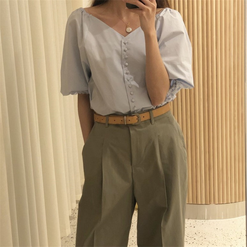 HziriP Hot Selling Brief Woman Sweet Stylish 2019 Summer Thin Casual Fashion Simple Fresh Lantern Short-Sleeved Shirt 2 Colors