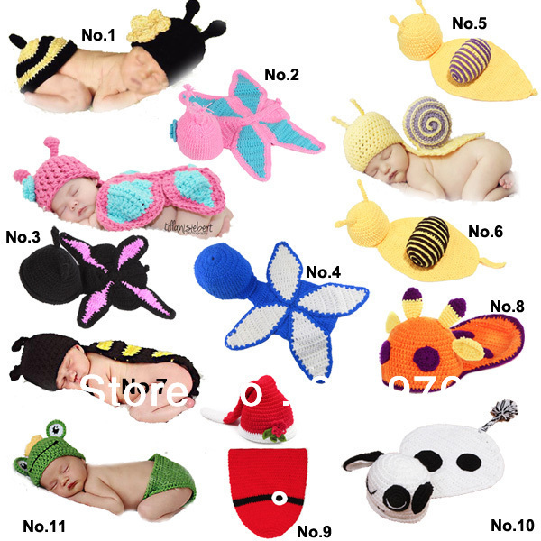 Animal- Baby Crochet Hat set - Newborn Hat - Photo Prop or gift