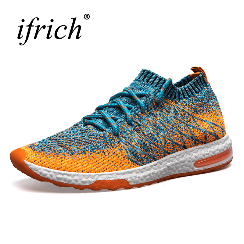 Running Shoes Men Trainers Breathable Men Gym Shoes 2019 Summer Boys Athletic Shoes Gray Orange Mens
