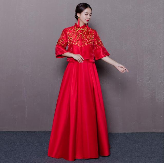 84979105b 2017 new Chinese style clothing Xiuhe wedding red cheongsam long gown bride wedding  dress female Suzhou embroidery Gown Robe