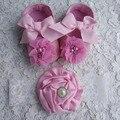 2015 zapatos de bebé para 1 year old girl ; flores sapatos infantis meninas ; zapatos del niño con perla establece diademas