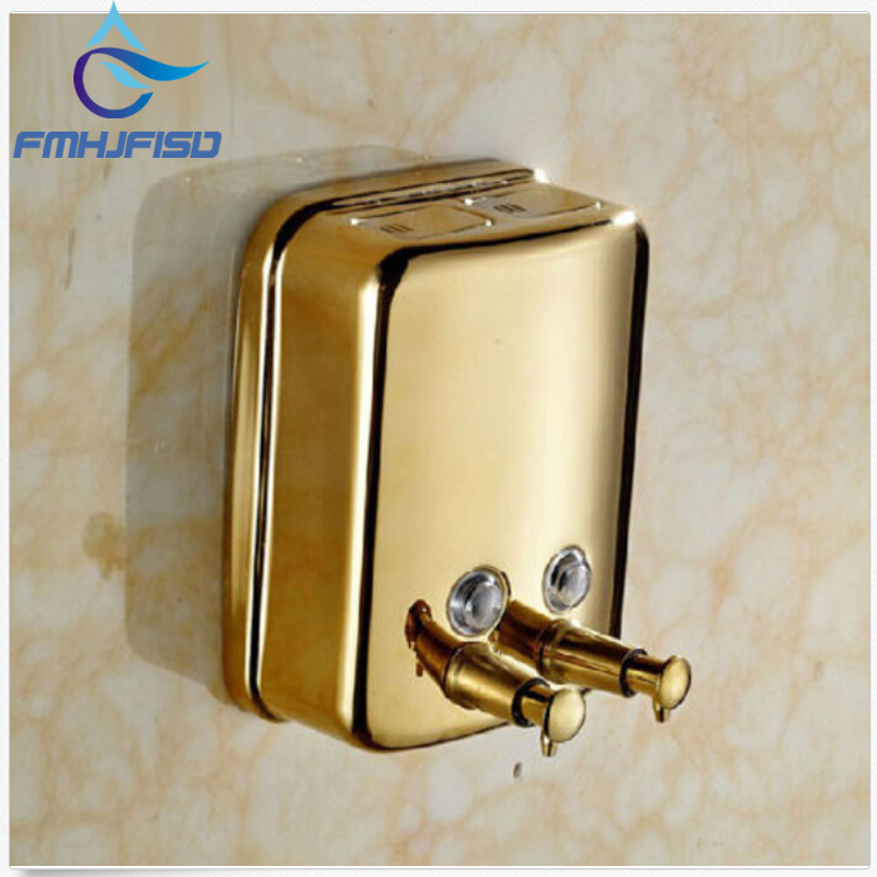 Gold-plate Bathroom Stainless Steel Wall Mounted Bathroom Soap Dispenser 1000ml free shipping brass black liquid soap dispenser bathroom kitchen stainless steel touch soap dispenser wall mounted 1000ml