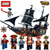 GUDI Building Blocks 900 Bricks Legend Of Pirate Series Pirate Boat Black Pearl Warship Model Pirate