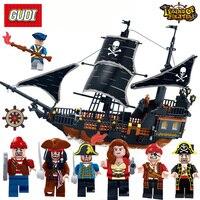GUDI Building Blocks 900 Bricks Legend Of Pirate Series Pirate Boat Black Pearl Warship Model Pirate