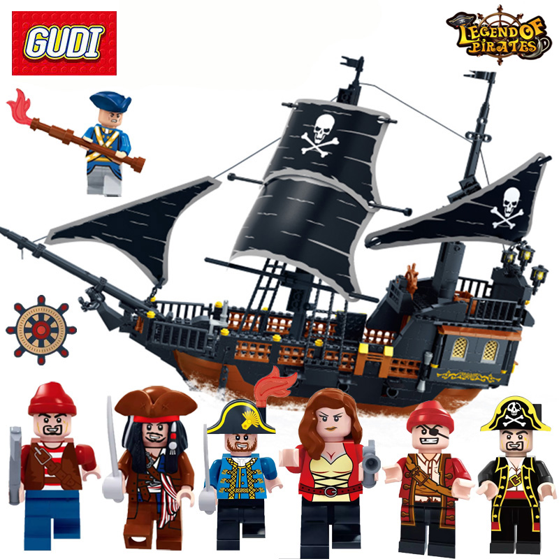GUDI Building Blocks 900+ Bricks Legend Of Pirate Series Pirate Boat Black Pearl Warship Model Pirate Soldier Figures Toys Gift see inside pirate ships