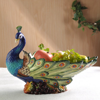 Peacock fruit plate decoration Continental pastoral ceramic fruit plate Home living room coffee table fruit bowl dried lo831246