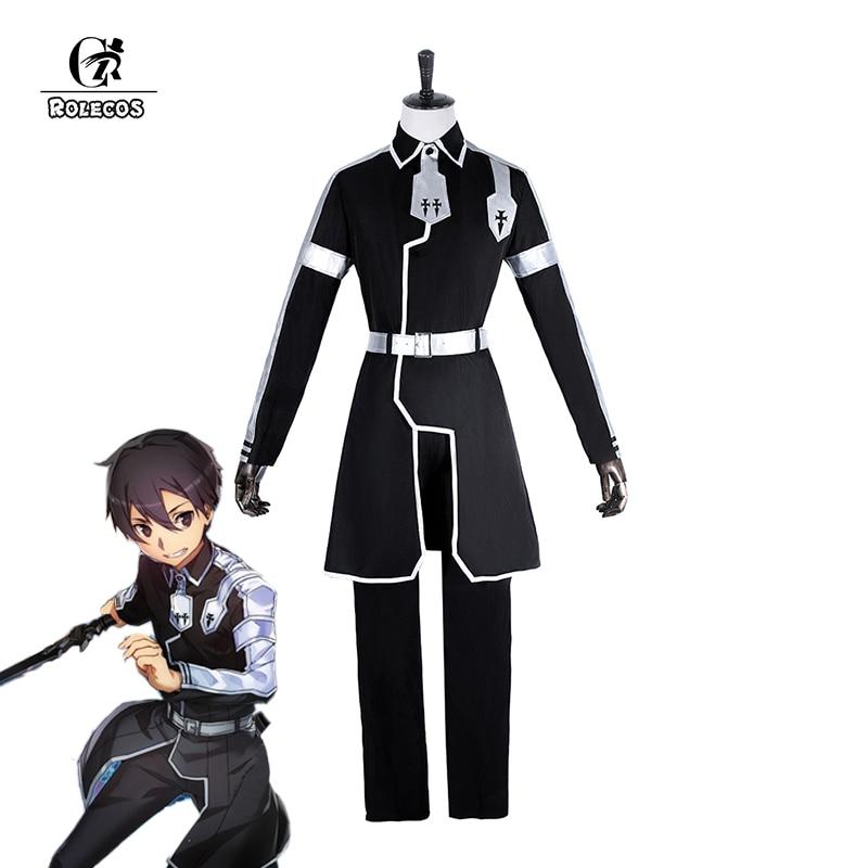 ROLECOS Japanese Anime Sword Art Online Cosplay Kirito Cosplay Costume Kazuto Kirigaya Full Set Men Uniform