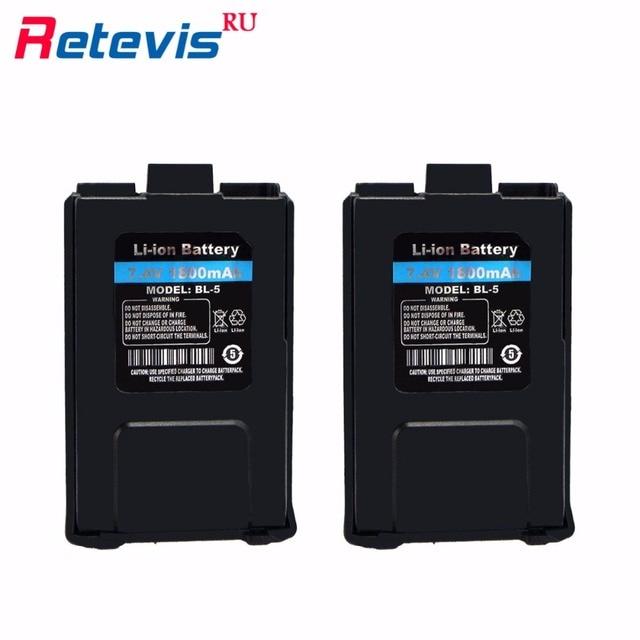 2 pcs original 7.4 v 1800 mah bateria li-ion bateria para walkie talkie baofeng uv-5r uv5r retevis rt-5r rt5r locais grátis rua0850