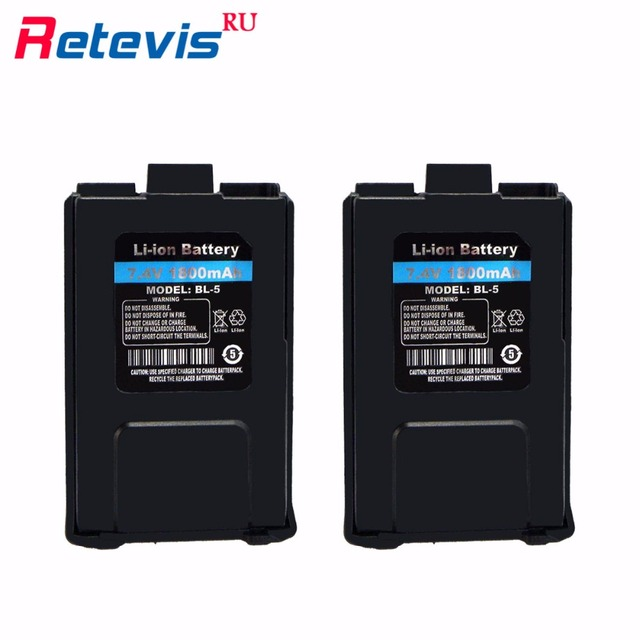 2pcs Original 7.4V 1800mAh Li-ion Battery For Walkie Talkie Baofeng Battery UV-5R UV5R Retevis RT-5R RT5R Local Shipping RUA0850