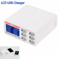 3 5A Max High Speed 6ports USB Fast Charger HUB Adapter Charging With LCD Display For