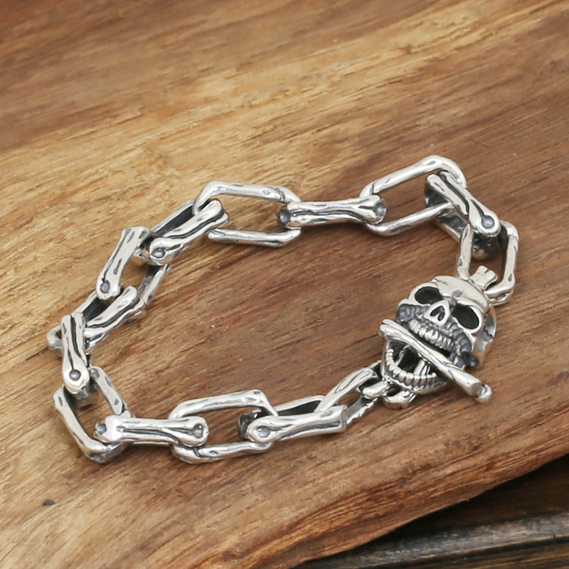 S925 men's fashion wholesale silver jewelry handmade Vintage Silver Long Skull personality buckle bracelet wholesale silver jewelry manufacturers s925 mens fashion silver silver bracelet handmade coarse twist 7m