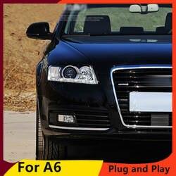 KOWELL автомобильный Стайлинг для Audi A6 C5 фары 2005-2012 A6 светодиодный фары DRL Объектив Двойной Луч ксеноновый комплект HID bi xenon объектива
