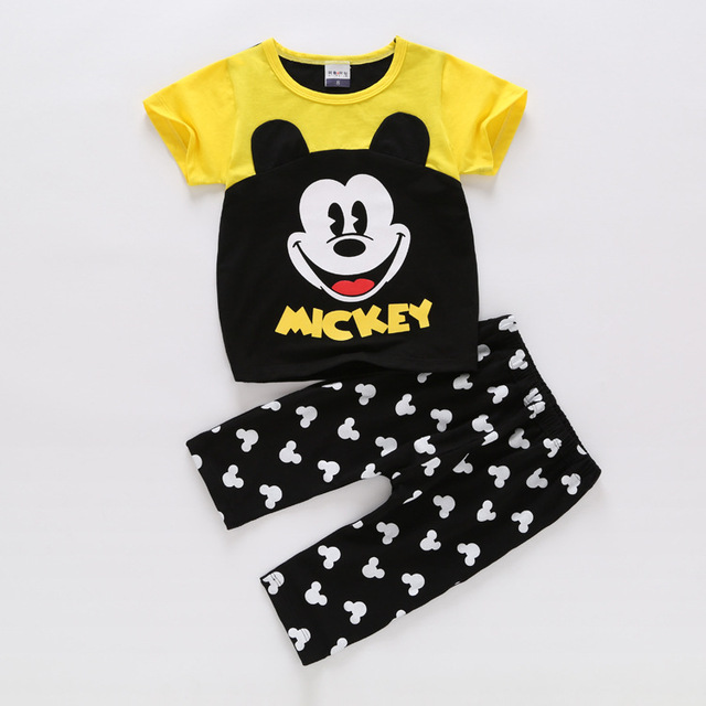 Summer children's sets of small cute cartoon cotton T-shirt + shorts suit baby clothing collection children dots clothes suit