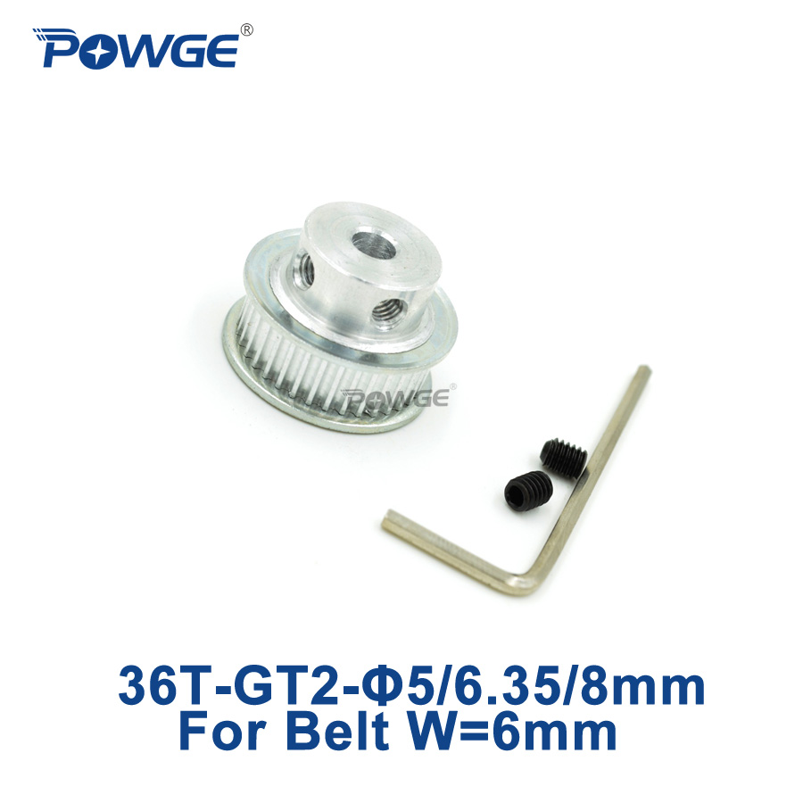 POWGE 1pcs 2M 2GT Timing Pulley 36 teeth Bore 5mm 6.35mm 8mm for width 6mm 2MGT <font><b>GT2</b></font> Timing Belt Small Backlash 36Teeth <font><b>36T</b></font> image