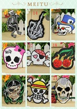 Free shipping Mixed Punk skull  Embroidered Patch Iron On Motif Applique  Embroidery Patches for clothing  Embroider  Badge hot sale mixed 14pcs full set for bandidos mc embroidered patch iron on jacket leather vest rider punk full back size patch g046