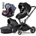 European Baby Strollers,Baby Carriage 3 in 1,Luxury Baby Stroller High Landscape Newborn Infant Prams Pushchairs Safety Car Seat