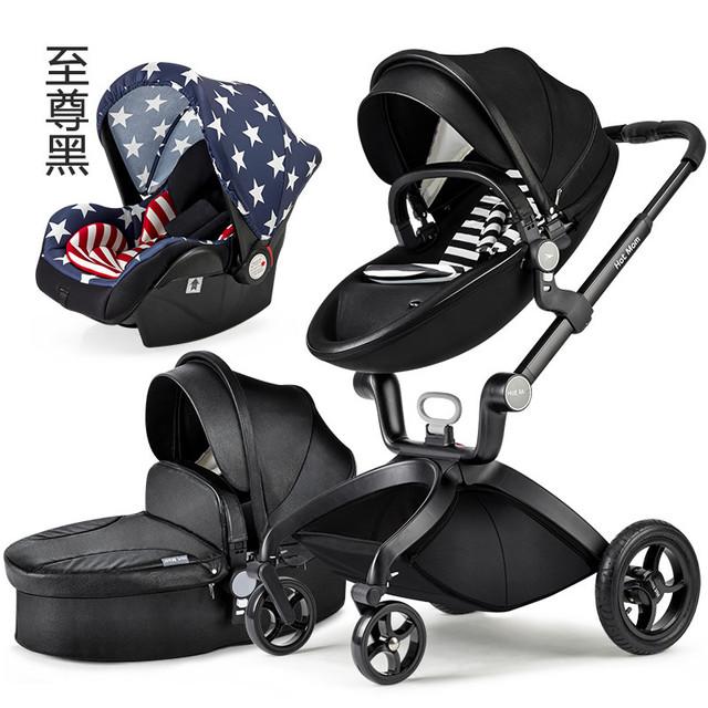 Europeu Carrinhos de Bebê, Carrinho de Bebê 3 em 1, Carrinho De Bebê De Luxo Alta Paisagem Recém-nascidos Infantil Prams carrinhos de Segurança Assento de carro