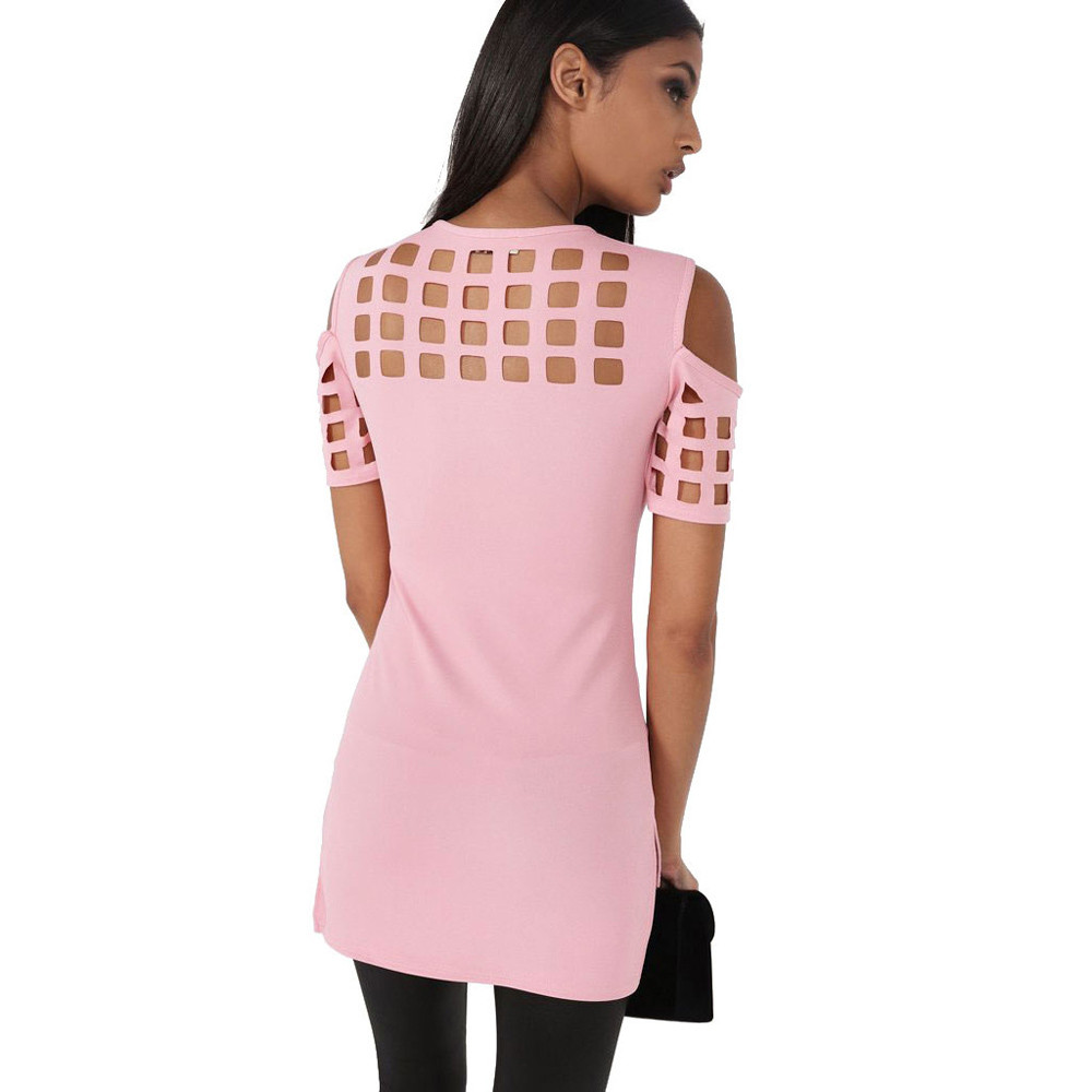 HTB1ZNgDOFXXXXaIapXXq6xXFXXXg - T-shirts Women Fashion Off The Shoulder Hollow Out Short Sleeve