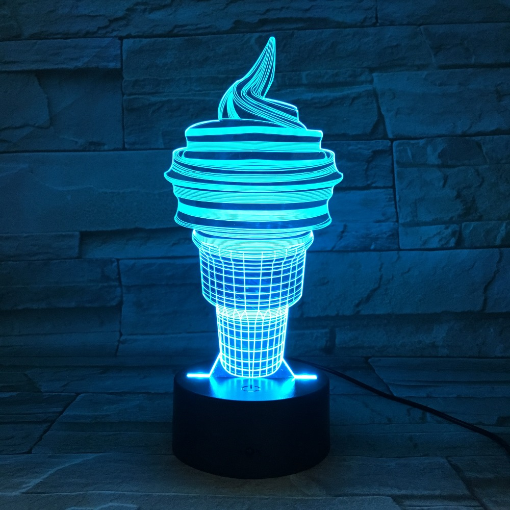 Мороженое 7 цветов менять ночника светодиодный 3D Настольные светильники для Спальня спальный Лампы Home Decor Книги по искусству декора Дети По…
