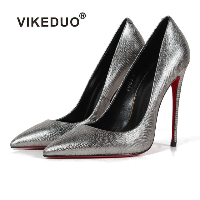 Vikeduo Women High Heels Pumps Silver Snakeskin handmade Shoes Female Wedding Party Business Shoe Genuine Leather Zapatos Mujer