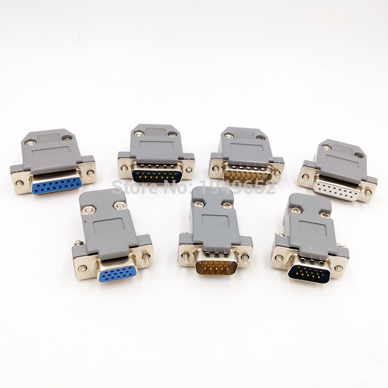 DB15 D type VGA Plug Data connector 2/3 row 15pin port socket adapter  female Male DP15 2 set rs232 serial port connector db9 male socket plug connector 9 pin copper rs232 com adapter with plastic case diy hy225 2