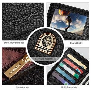 Image 5 - Laorentou erkek debriyaj cüzdan yumuşak inek deri kartlık iş erkek iki kat cüzdanlar uzun çanta iç fermuarlı cebi ile
