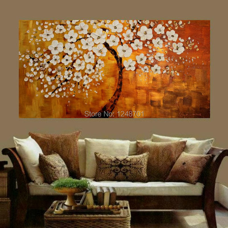 Handpainted abstract white bloom flower tree canvas thick textured oil painting palette font b knife b
