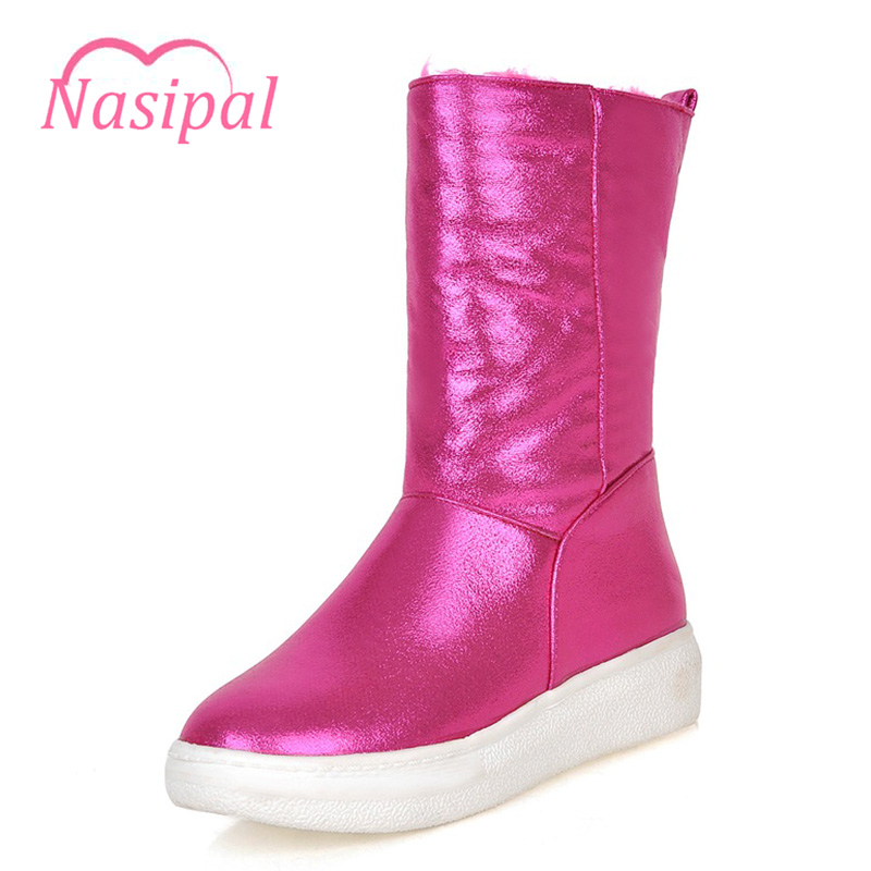 Nasipal Winter Snow Boots Woman Flat With Heels Round Toe Mid-Calf Women Boots Bling Slip-on Snow Warm Casual Shoes Girls C116 women snow boots winter warm shoes solid color flat ladies snow boots round toe mid calf women boot platform girls school shoes