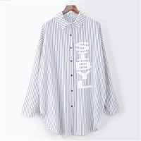 Autumn Fashion New Loose Streetwear Letter Printed Shirts Women Casual Striped Women S Blouses Buttons Full