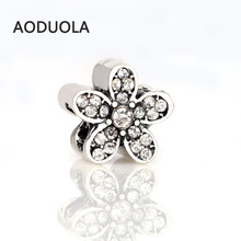 10 Pcs a Lot Silver Alloy Bead Flower Shape Rhinestones DIY Big Hole Beads Spacer Murano Charm Fit For Pandora Bracelet