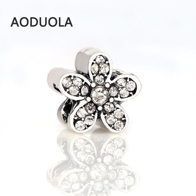 10 Pcs a Lot Silver Alloy Bead Flower Shape Rhinestones DIY Big Hole Beads Space
