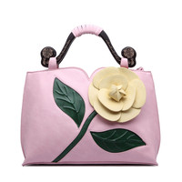 Women S Large Flowers Handbags Floral Embossing Totes Lady Classical Folk Style Bags Pu Leather Crossbody