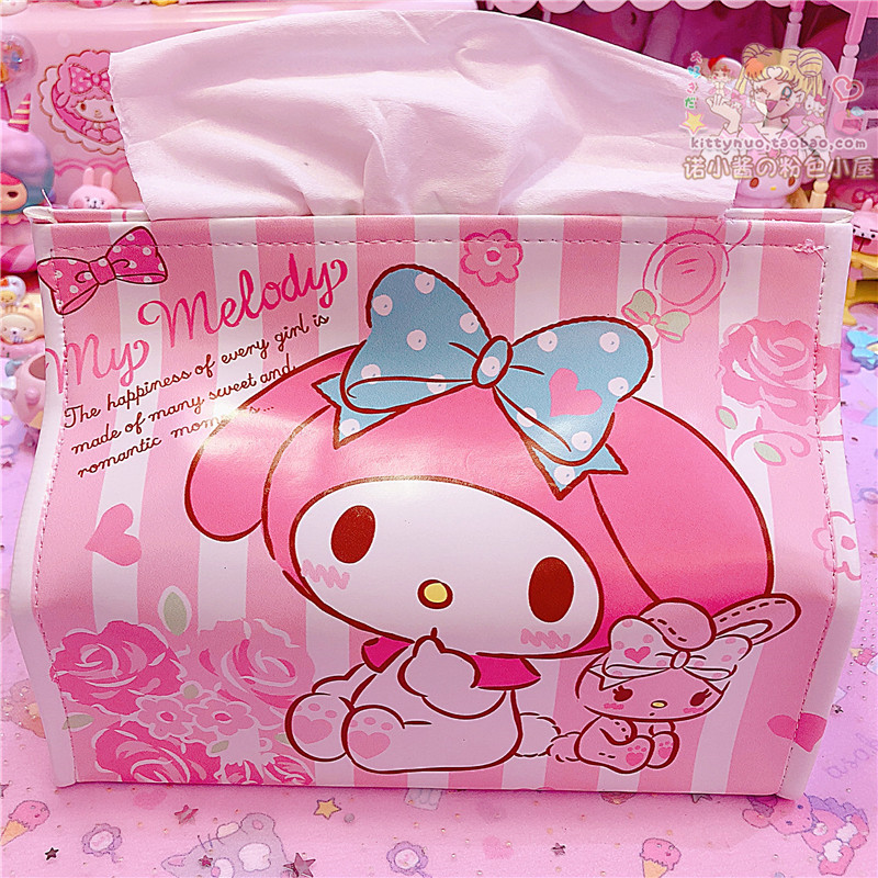 Cute Cartoon My Melody Twin Stars Tissue Box Holder For Car, Table Accessories