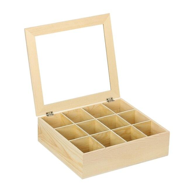 12 Compartments Wooden Storage Box Tea Box Storage Container Jewelry